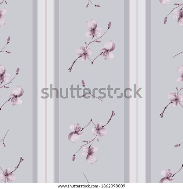 Seamless pattern small branchs with beige flowers on a gray background with vertical stripes. Watercolor