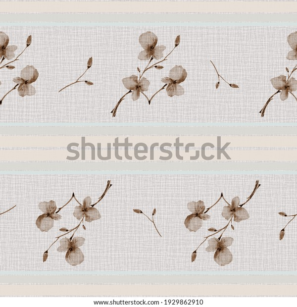 Seamless pattern small branchs with beige flowers on a beige linen background with yellow horizontal stripes. Watercolor