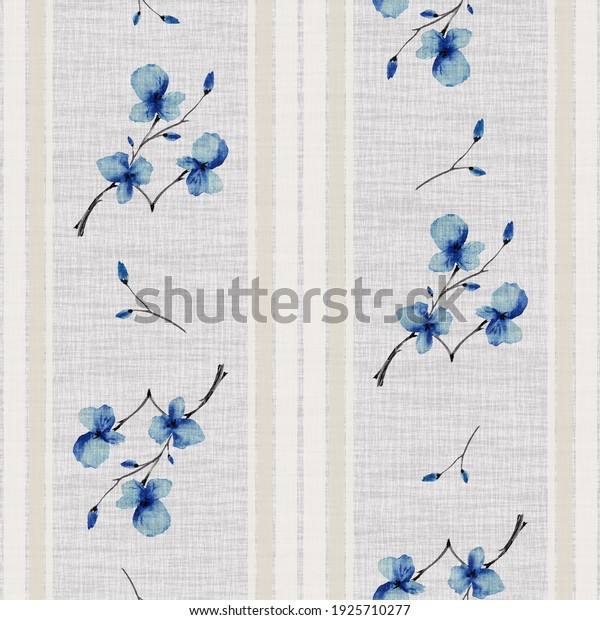 Seamless pattern small branchs with blue flowers on a linen gray background with vertical beige stripes. Watercolor