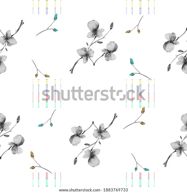 Seamless pattern small branchs gray flowers on a white background with vertical coloful stripes. Watercolor
