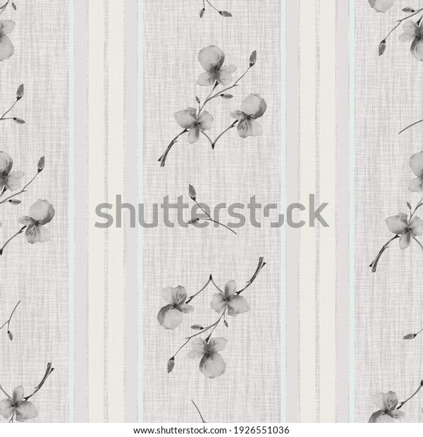 Seamless pattern small branchs with gray flowers on a gray flaxen background with vertical turquoise stripes. Watercolor