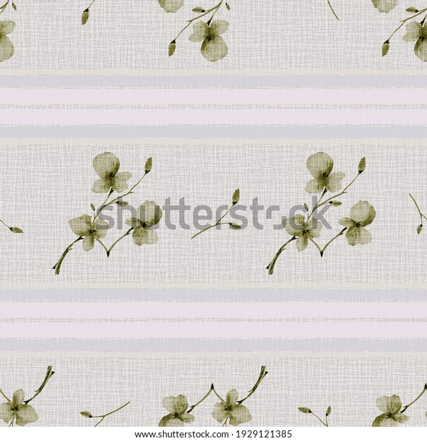 Seamless pattern small branchs with green flowers on a gray linen background with violet horizontal stripes. Watercolor