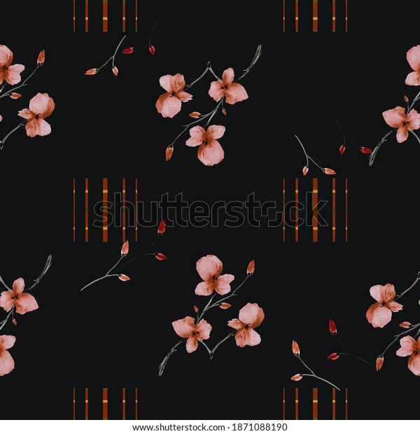 Seamless pattern small branchs orange flowers on the black background with vertical stripes. Watercolor
