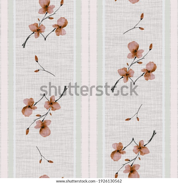 Seamless pattern small branchs with orange flowers on a gray background with vertical green stripes. Watercolor