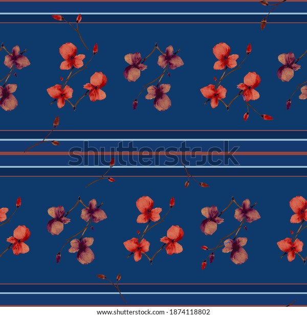 Seamless pattern small branchs with red and beige flowers on a dark blue background with horizontal red stripes. Watercolor