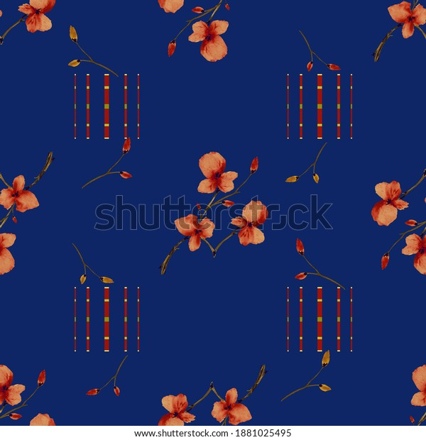 Seamless pattern small branchs red flowers on a dark blue background with vertical stripes. Watercolor