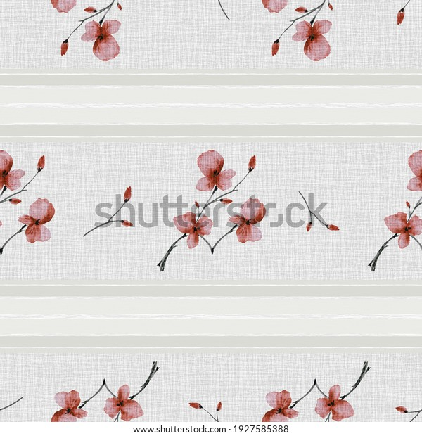 Seamless pattern small branchs with red and flowers on a gray linen background with gray horizontal stripes. Watercolor