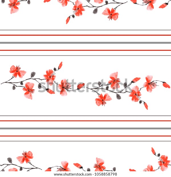 Seamless pattern small branchs of wild red flowers on a white background and horizontal red and gray stripes. Watercolor