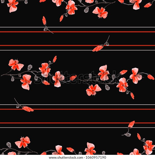 Seamless pattern small branchs of wild red flowers on the black background and horizontal red and gray stripes. Watercolor