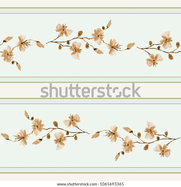 Seamless pattern small branchs of wild beige flowers on a green background and horizontal  stripes. Watercolor