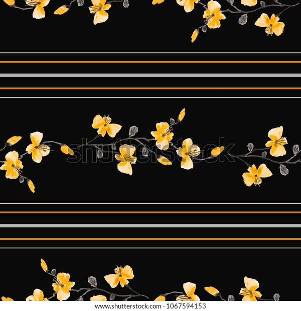 Seamless pattern small branchs of wild yellow flowers on the black background and horizontal yellow and gray stripes. Watercolor