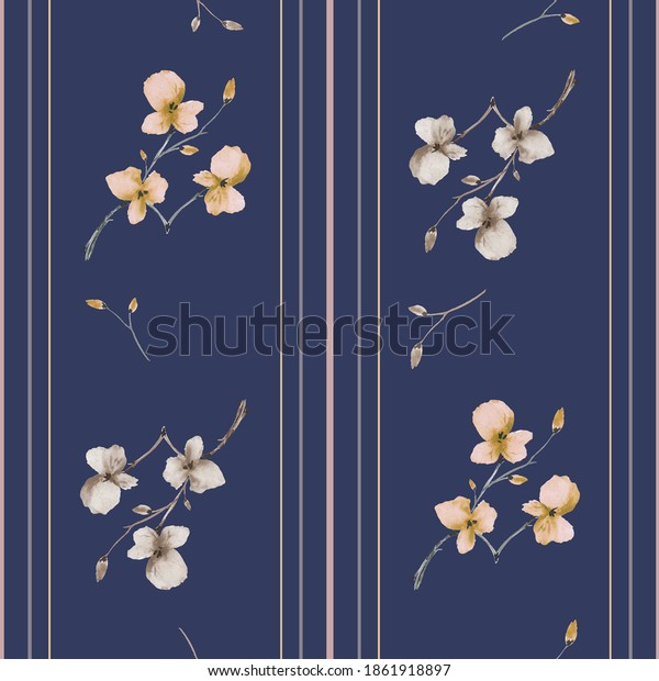 Seamless pattern small branchs withyellow and beige flowers on a dark blue background with vertical stripes. Watercolor