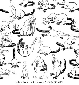 Seamless pattern with small cartoon stylized muskrats. Black-and-white graphics for design. Set of hand drawn design elements. Collection of black ink. Russian muskrat, a mammal of the mole family