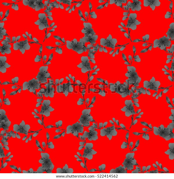 Seamless pattern small  deep gray flowers and branches on a red background. Floral background. Watercolor