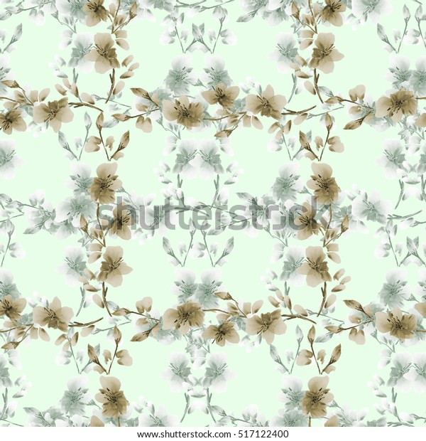 Seamless pattern small gray and beige flowers and branches on a light green background. Floral background. Watercolor
