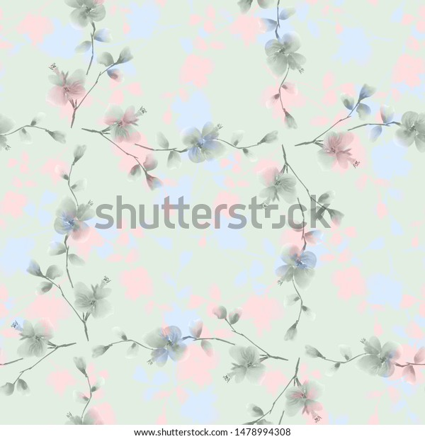 Seamless pattern small gray, blue and pink flowers on a green background.