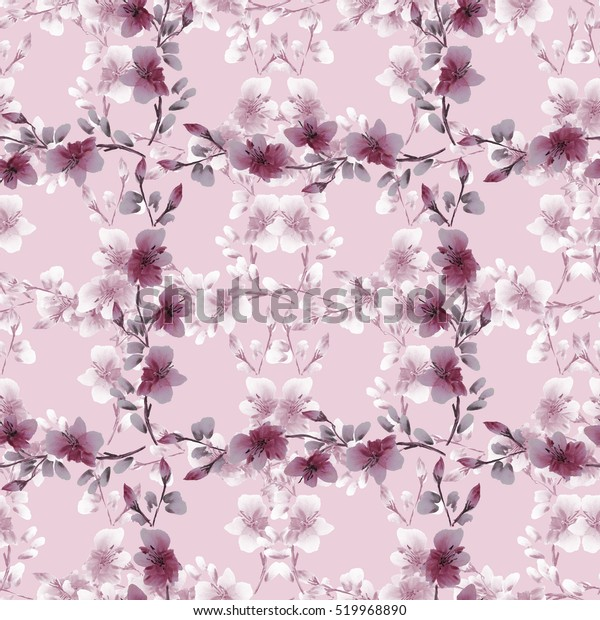 Seamless pattern small gray and deep pink flowers and branches on a pink background. Floral background. Watercolor