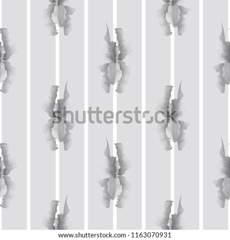 Seamless pattern of small gray flowers on light gray background with white vertical stripes. Watercolor