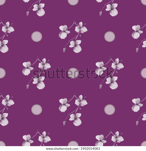 Seamless pattern of small gray flowers and beige with pink circles on a dark purple background. Watercolor