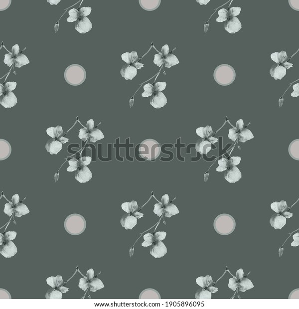 Seamless pattern of small gray flowers and beige circles on a dark green background. Watercolor