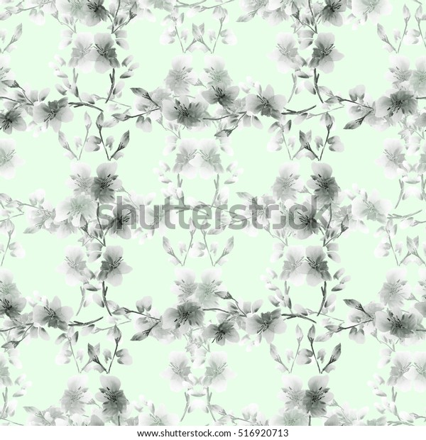 Seamless pattern small gray flowers and branches on a light green background. Floral background. Watercolor