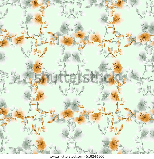 Seamless pattern small gray and orange flowers and branches on a light green background. Floral background. Watercolor