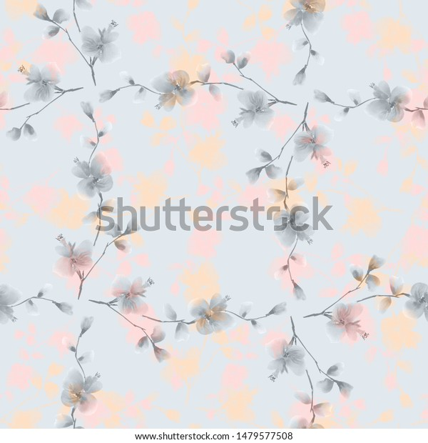 Seamless pattern small gray and pink  flowers on blue background. Watercolor -5