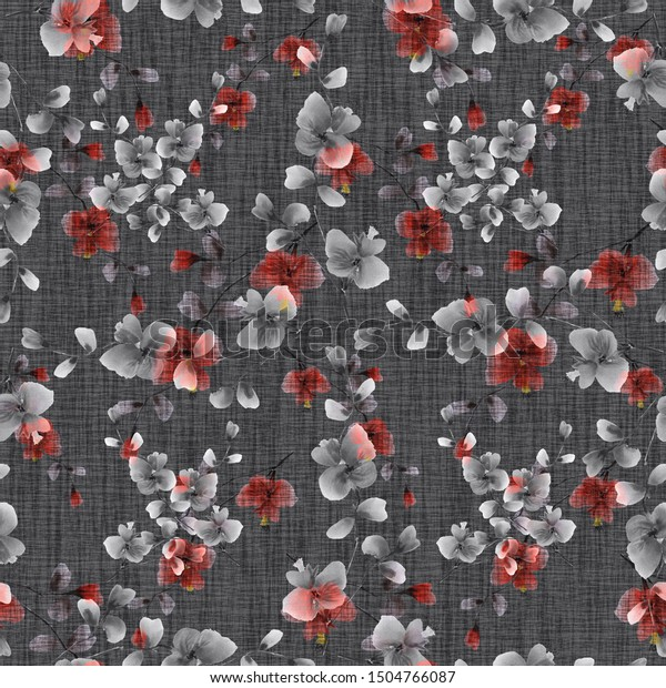 Seamless pattern of small gray and pink flowers on a dark gray background. Watercolor -5