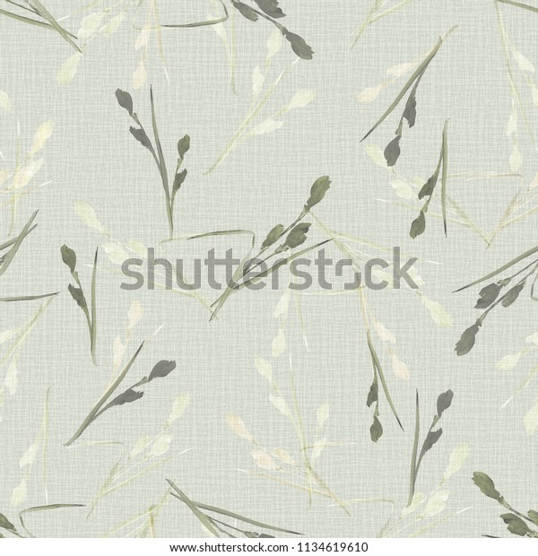 Seamless pattern of small green and beige flowers and branches on a light green background. Watercolor -1