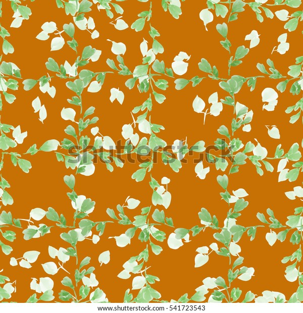 Seamless pattern small green branches and light beige leaves on the orange background. Floral background. Watercolor