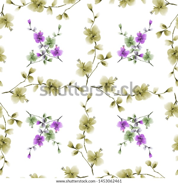 Seamless pattern small green and violet flowers and branches on a white background. Watercolor -5