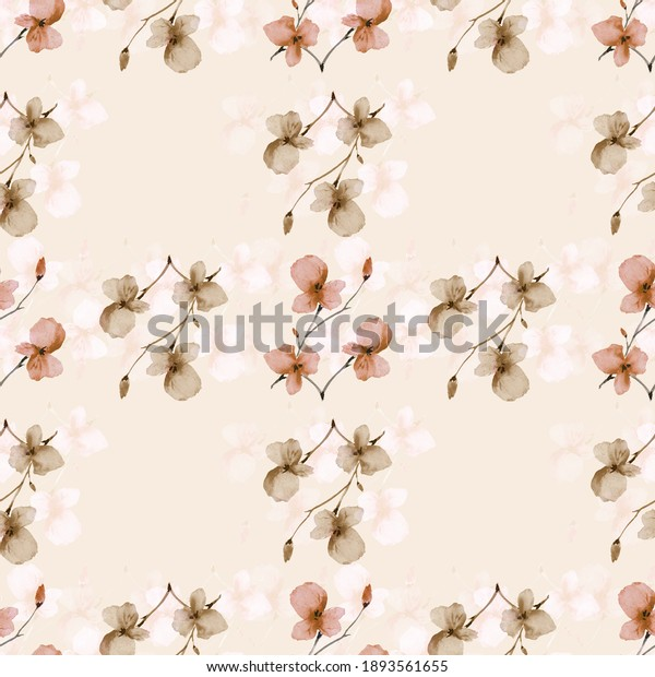 Seamless pattern small  light beige and orange flowers and branches on a light cell beige background. Watercolor
