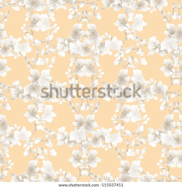 Seamless pattern small  light beige flowers and branches on a beige background. Floral background. Watercolor