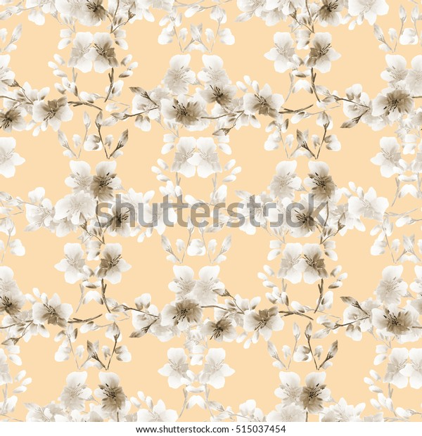 Seamless pattern small light beige flowers and beige branches on a beige background. Floral background. Watercolor