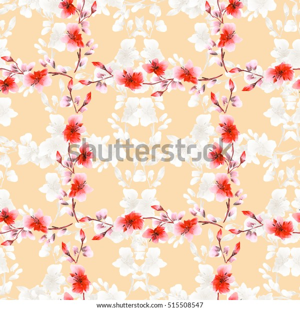 Seamless pattern small light beige flowers and red branches on a beige background. Floral background. Watercolor