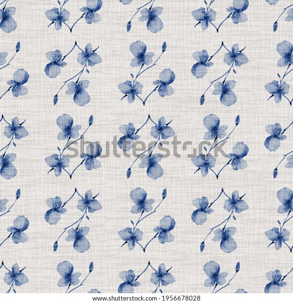 Seamless pattern small  light blue flowers and branches on the light  linen background. Watercolor
