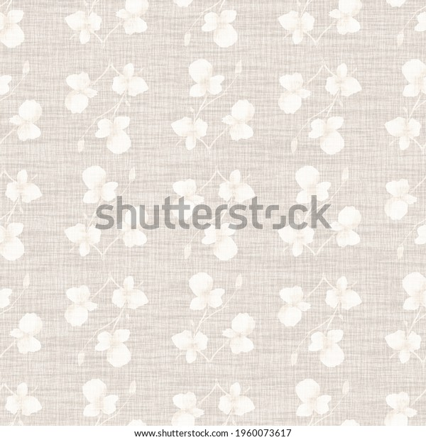 Seamless pattern small  light flowers and branches on the light  linen beige background. Watercolor