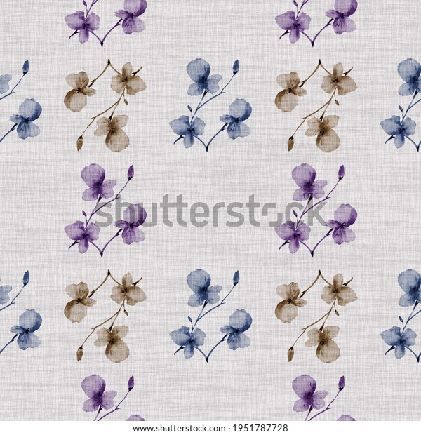 Seamless pattern small  light pink, blue, beige flowers and branches on the light cell linen background. Watercolor