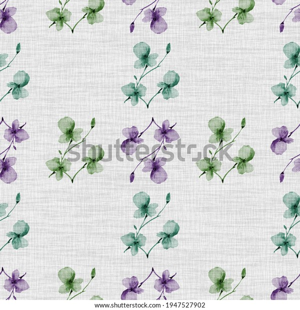 Seamless pattern small  light violet, green flowers and branches on the light cell linen gray background. Watercolor