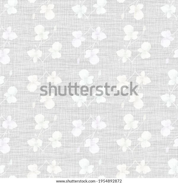 Seamless pattern small  light white flowers and branches on the light  linen gray background. Watercolor
