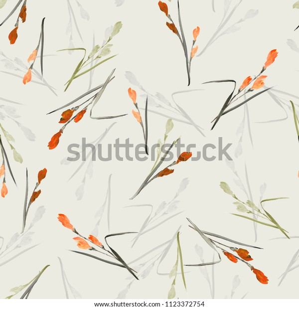 Seamless pattern of small orange, gray, green flowers and branches on a light green background. Watercolor -1