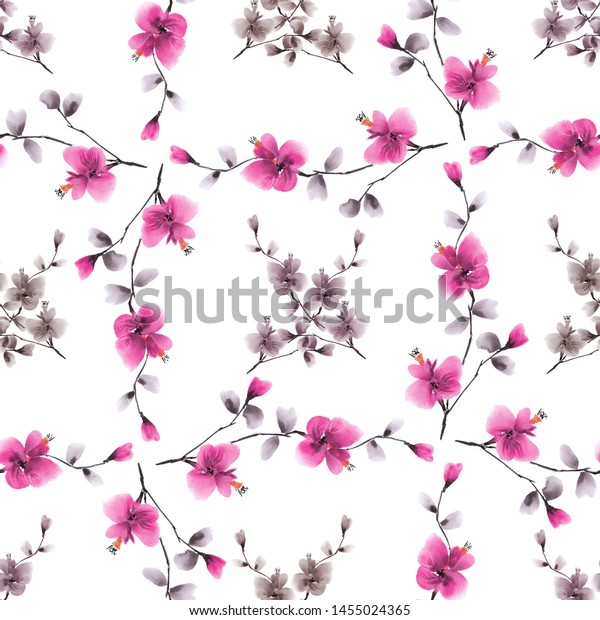 Seamless pattern small pink andg ray flowers on a white background. Watercolor - 5