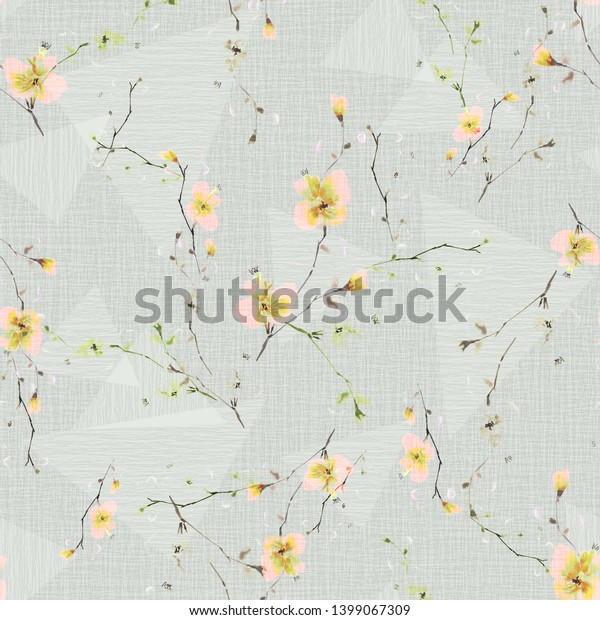 Seamless pattern of small pink flowers and branches on a light green background with geometric figures . Watercolor