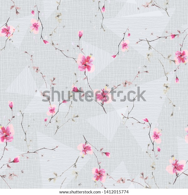 Seamless pattern of small pink flowers and branches on a light gray background with geometric figures . Watercolor -1