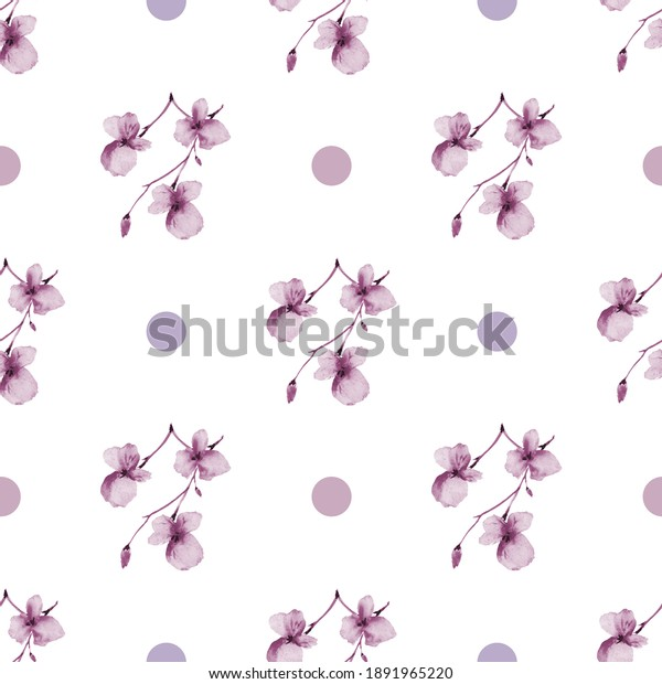 Seamless pattern of small pink flowers and pink and violet circles on a white background. Watercolor