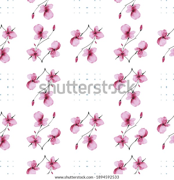Seamless pattern small  pink flowers and branches with blue squares on a white background. Watercolor