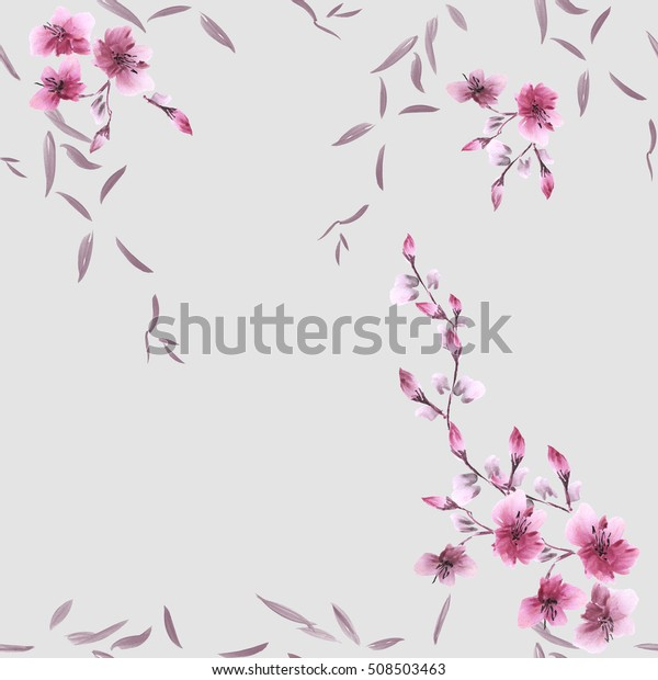 Seamless pattern small pink flowers and gray leaves on the gray background. Watercolor