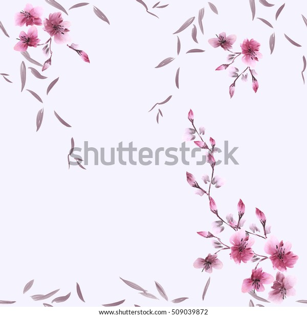 Seamless pattern small pink flowers and gray leaves on the violet background. Watercolor