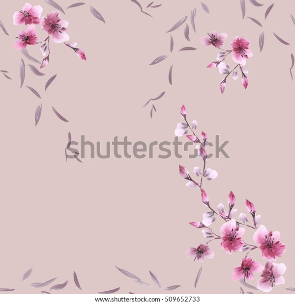 Seamless pattern small pink flowers and gray leaves on a pink background. Watercolor
