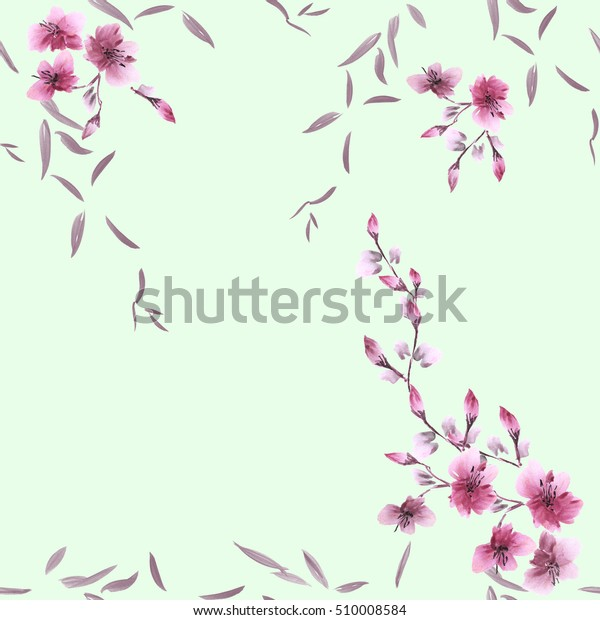 Seamless pattern small pink flowers and gray leaves on a green background. Watercolor
